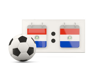 Flag of paraguay, football with scoreboard