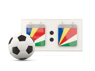 Flag of seychelles, football with scoreboard