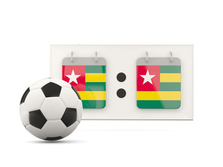 Flag of togo, football with scoreboard