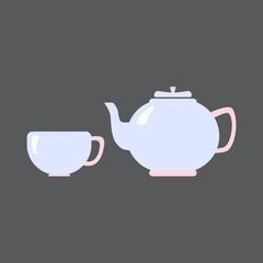 Чай набор посуды флэт flat Tea set