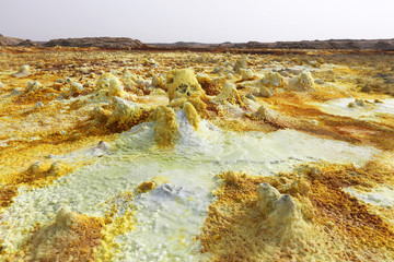 Toxic Landscape of Dallol volcano, Danakil Depression, Ethiopia