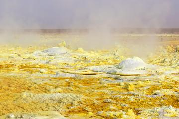 Inside the explosion crater of Dallol volcano, Danakil Depression, Ethiopia