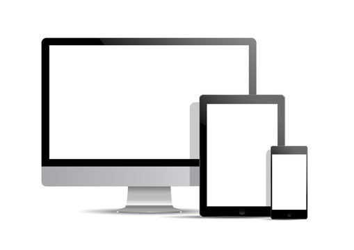 Set of realistic computer monitor, computer and laptop.