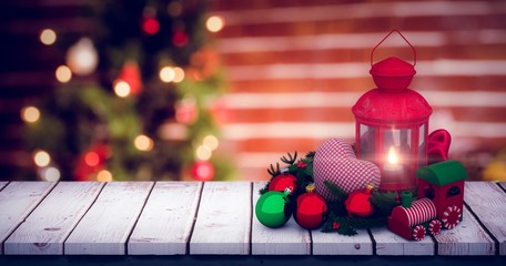Composite image of digital image of christmas accessories