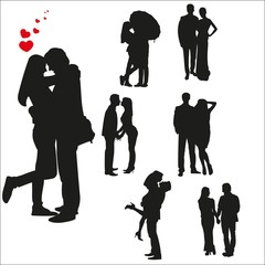 Vector silhouettes of loving couples