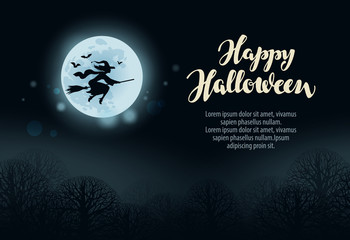 Happy Halloween. Witch flies on broomstick in dark forest at night