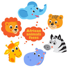 Forest Animals Faces Icons Set. Vector Elephant. Vector Lion. Vector Giraffe. Vector Hippo. Vector Zebra. Vector Tiger. Cartoon Vector. Forest Animals Toys. Forest Animals Coloring.