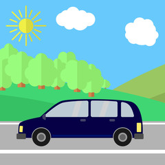 Dark Blue Sport Utility Vehicle on a Road on a Sunny Day. Summer Travel Illustration.