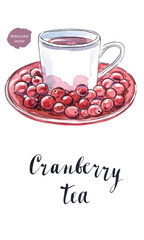 Cranberry tea in a white cup