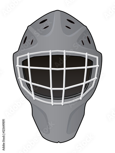 Layout Of Hockey Goalie Helmet Isolated On White Background Template For Creating