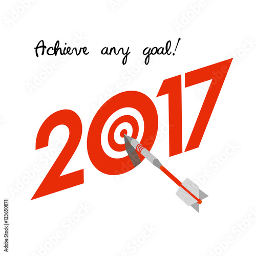 New Year 2017 Business Concept Target With Dart Instead Of Zero