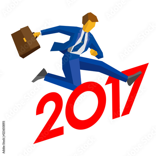businessman with case jump over number 2017 man crosses the rh fotolia com