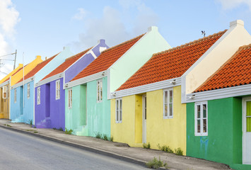 Multicolored row homes at Willemstad, Curacao Wall mural
