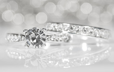 Rings of silver with diamonds.