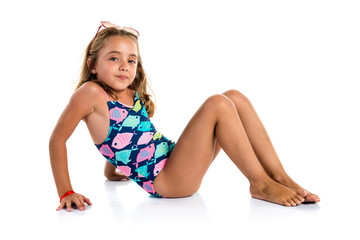 Little cute girl in swimwear