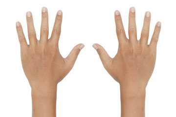 hand showing the ten fingers on white background