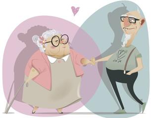 old cartoon couple in love