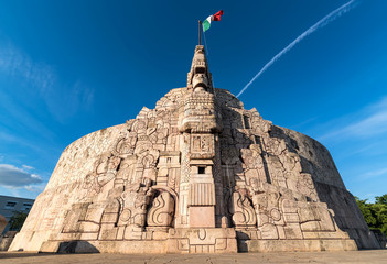 wide angle shot of Homeland Monument, Paseo Montejo, Merida Yucatan