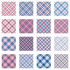 Plaid patterns collection, pink and blue shades