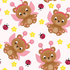 Fairy teddy bear seamless pattern