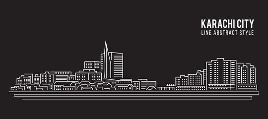 Cityscape Building Line art Vector Illustration design - Karachi city Fototapete