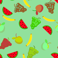 Fruits on green background. Seamless pattern for textile or wallpaper