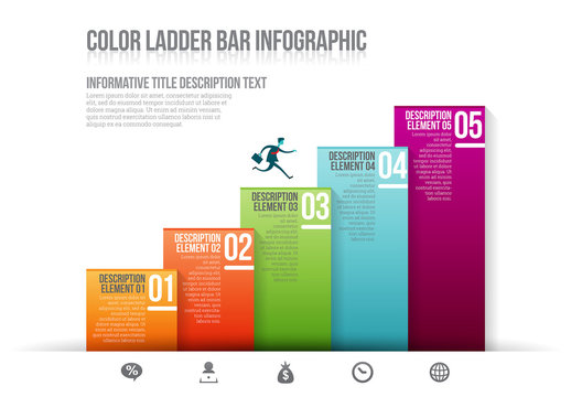 Gradient Stair-Step Bar Graph Infographic