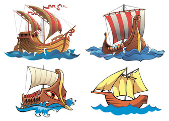 Four ships of different origin and ages, vector illustration