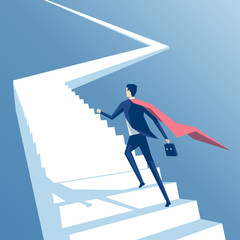 Super businessman runs up the stairs, superhero employee climbs the stairs, business concept of career growth and success