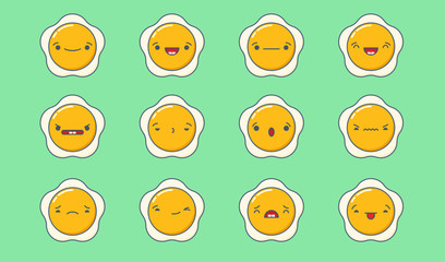 Set of vector kawaii fried egg emoticons. Isolated on green background.