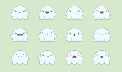 Set of vector kawaii ghost emoticons. Isolated on pale green background.
