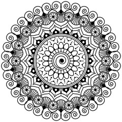 Mehndi mandala flower in Indian henna style for tatoo or card.