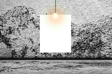 Blank white poster in concrete room.