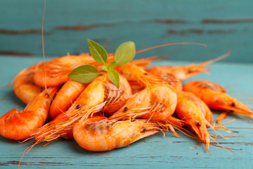 small shrimp (crustaceans) in a blue background. traditional Odessa cuisine
