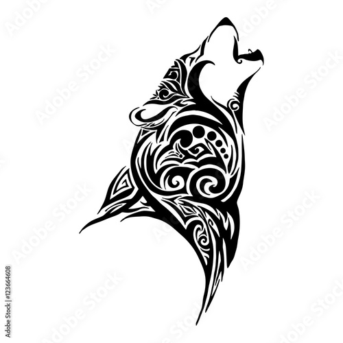Wolf Head Howl Design For Tribal Tattoo Vector Stock Image And