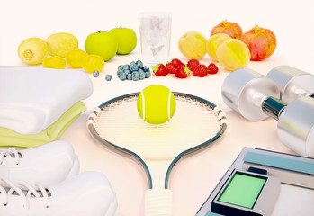 Fitness concept with fresh fruits, water, towels, sneakers