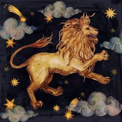 Zodiac sign - Leo. Watercolor Illustration. Isolated.