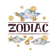 -Zodiac- writing on white background.