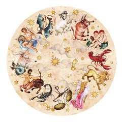 Zodiac circle - complete set of 12 signs.