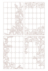 Set contour illustrations of stained glass Windows with flowers