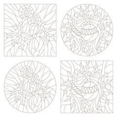 Set contour illustrations of the stained glass Windows on the theme of new year and Christmas with candles and Christmas decorations