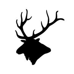 deer head vector illustration black silhouette