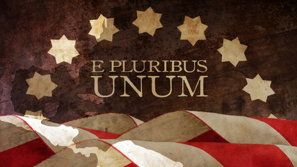 E Pluribus Unum. USA motto. Stars and Stripes