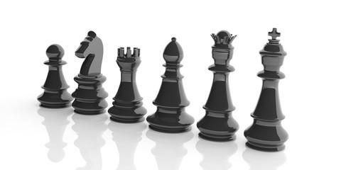 Basic chess set on white background. 3d illustration