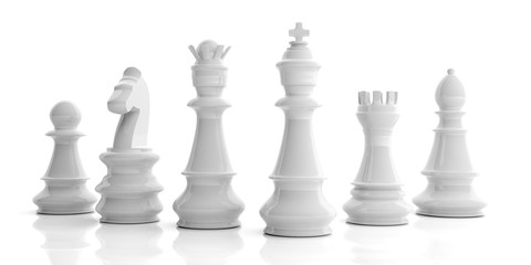 Basic chess set on white background. 3d illustration