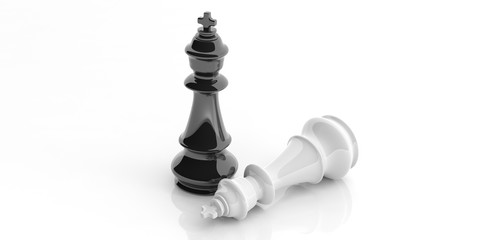 Chess kings on white background. 3d illustration