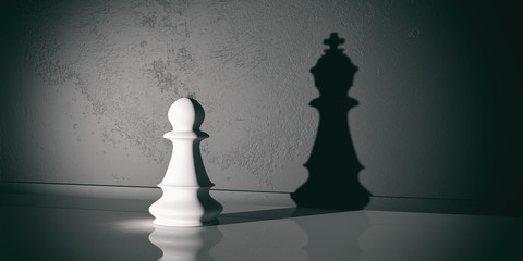 Chess pawn and king shadow. 3d illustration