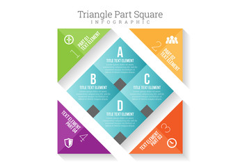 Four Section Off-Axis Square with Triangular Tabs Infographic