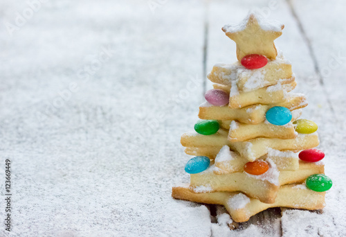 Cookie Christmas Tree Made By Star Cookie Cutter Stock Photo And