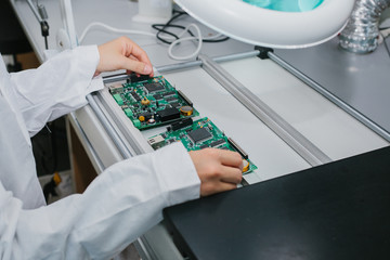 Microchip production factory. Technological process.